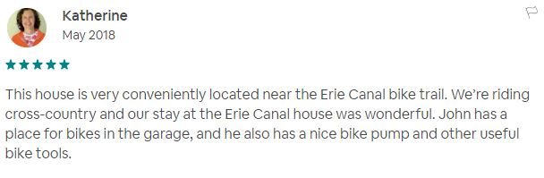 Erie Canal House Air BNB comment